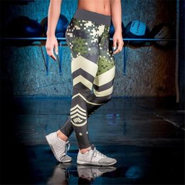 Wholesale Printed Elastic Jeggings - Camouflage striped print fitness legging pants female clothes athleisure push up elastic leggings for women harajuku jeggings MTL170811