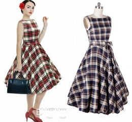 Wholesale Red Hot Balls - In Stock Cheap 2017 Hot Selling Audrey Hepburn 1950 Rockabilly Casual Dresses Ball Gown Vintage Plaid Style Slim Knee Length Women Dresses