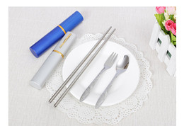 Wholesale Fork Pen - The pen type tableware three pieces folding chopsticks fork spoon portable wedding tableware 5 different colors wholsale 5 sets per lot
