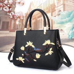 Wholesale Magnolia Blue - 2017 New High Quality Fashion Women PU Leather Magnolia Embroidery Handbags Shoulder Bag Pure Color Black Bag Handbags Party Bag dhY-373