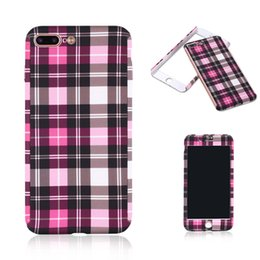 Wholesale Iphone Pattern Glass - For iPhone 7 Full Protection PC Case Classic Tartan Pattern Back Cover With Tempered Glass Screen For iPhone 5S 6S 6 Plus OppBag