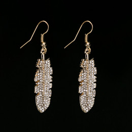Wholesale Leaf Cuff Gold Earrings - Vintage gold color Crystal Earring Jewelry Fashion Brand Glass Rhinestone leaf Drop Earring Cuffs For Women #E227