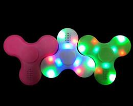 Wholesale Toy Led Gyroscope - Hot fidget spinner toy + bluetooth speaker LED Flash light hand spinner tri cube Fluorescent child adult gyroscope finger