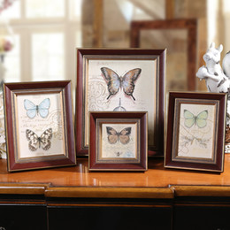 Wholesale Wall Photos Frames - 1pcs lot Wall Hanging Photo Frame Fotoframe Photo Frames Photos for Picture Mini Wooden Frame Fashion Brown 4 6 7 10 inch