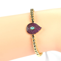 Wholesale Platinum Braids - New 2 Colors Pave CZ Nano Blue And Red Evil Eye Charms Gold Water droplets design Braiding Macrame Bracelet Pulsera for Gift JF
