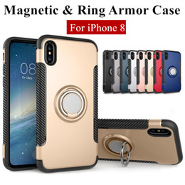 Wholesale Iphone Hybrid Stand - Hybrid 2-in-1 Armor Case for iPhone X 8 7 6 6S Plus ShockProof Case with 360° Ring Stand Holder Magnetic Back Cover