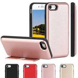 Wholesale Phone Guards - Hybrid Armor Guard Side Slot Card Holder Stand Phone Cover Case for iPhone 7 4.7 inch