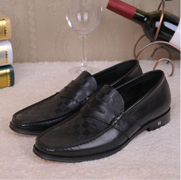 Wholesale Comfortable Mens Black Dress Shoes - Brand Business mens loafers genuine leather comfortable luxury Italian men wedding party shoes DHL free shipping