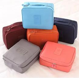 Wholesale Red Toiletries Bag - 2017 Gena travel Make Up Cosmetic Storage Trunk Zipper Bag Case Women Men Makeup Bag Toiletries Travel Kit Jewelry Organizer Handbag
