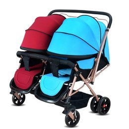 Wholesale Stroller For Twins Babies - Wholesale- Popular Twins Folding Baby Stroller Portable Carriage Baby Pram Twins Good Quality Stroller for Twins Pushchai