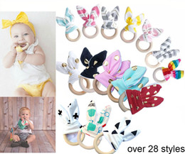 Wholesale Wholesale Shower Rings - 2017 New INS Baby Teethers Chevron Zigzag Wooden Ring With Bunny Ear Fabric Maple Teething Practice Shower Toys Training infant 28styles A07