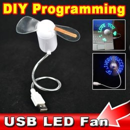 Wholesale Blue Led Fan Case - DHL Fashion USB LED FAN USB Gadget Red Green Blue Light Flexible LED Cooler DIY USB Case Any Characters Messages for Laptop PC