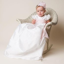 Wholesale Cheap Baptism Gowns - New Cheap 2017 Christening Gowns For Baby Girls Baptism Gowns With Pink Sash Taffeta Princess First Communication Dresses