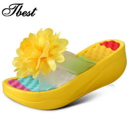 Wholesale Platform Swing - Wholesale-2016 new summer Women's Flip-Flop Sandals Platform flip flops slippers sandals swing wedges sandal women hole shoes plus size