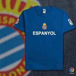 Wholesale Solid Color Fans - Custom Espanyol casual club la liga cotton T-shirt sportswear uniform football fans sccoer top tee