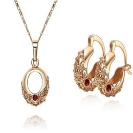 Wholesale Wholesale Bridal Necklaces For Cheap - DHL 18k Gold Plated Necklace And Earring Set Jewelry Cheap Wholesale for Bridal Fashion Sweater Chain for Women Xmas Gift