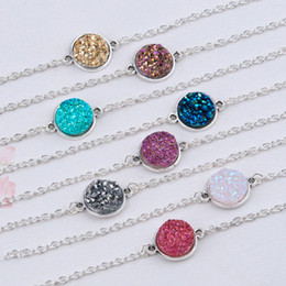 "gold druzy connectors Coupons - Wholesale-DoreenBeads Resin Druzy  Drusy Elegant Women Bracelets Antique Silver Round Connector 8 Colors Glitter 17cm(6 6 8"") long 1 Piece"
