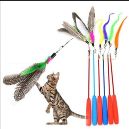 Wholesale Cat Three - Colorful Feather Design Tease Cat Stick Cat Catcher Teaser Toy Three short scaling Exerciser For Cat and Kitte Color Assorted
