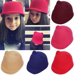 Wholesale Devil Bowler Hat - New Winter Fashion hip-hop Kids girls Children Stingy Brim Hats Warm Devil Hat Cute Cat Ear Multicolors Ears Wool Derby Bowler Cap