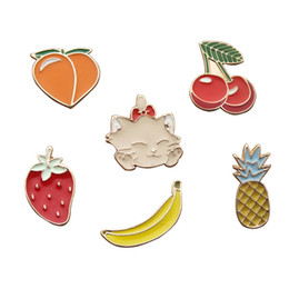 Wholesale Wholesale Cherry Scarf - Wholesale- LASPERAL Cartoon Strawberry Cherry Banana Shaped Enamel Pins Brooches For Women Girl Fit Scarf Brooches Jewelry Accessories