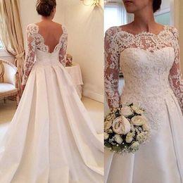 buy open back satin wedding dress - 2017 Elegant Vestido De Renda Lace Long Sleeves Wedding Dresses Open Back A Line Plus Size Satin Skirt Bridal Gowns