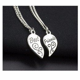 Wholesale One Direction Pendants - Wholesale-Exo Choker New 2016 Summer Men Bijoux Silver Plated Best Friend Love Heart Necklaces For Women Chain Jewelry Gift One Direction