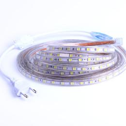 Wholesale 15m Blue Strip - Waterproof 220V SMD 5050 5m 10m 15m 20m 25m led tape flexible led strip light 60 leds M outdoor garden lighting EU plug