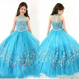 Wholesale Turquoise Ball Gowns Sleeves - RACHEL ALLAN Girls Pageant Dresses 2017 Sheer High Neck Beaded Crystal Sleeveless Ball Gown Turquoise Tulle Flower Girl Dresses 671