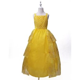 Wholesale Girls Clothing Flower - Beauty and the Beast Belle cosplay costume kids princess Belle dress Flowers girls Children party dress Children Clothing