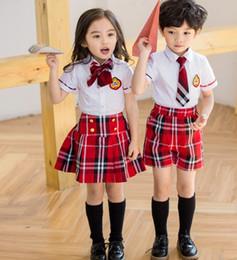 Wholesale Dress Shirt Tie Sets - 2017 New Kids School Uniform Dress Set 2PCS Set Girl Bow Tie White Skirt + Red Short Skirt Boys Necktie White Shirts+ Red Short Pants B4606