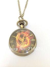 Wholesale Hunger Games Pocket - Hot wholesale 10pcs lot vintage charm movie jewelry Laugh at the bird The Hunger Games pocket watch necklace 2014