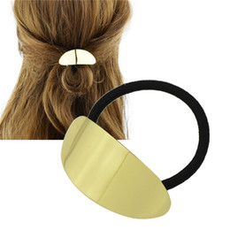 Wholesale Metal Rubber Band Hair - Simple Black Elastic Metal Hair Rubber Band for Girls