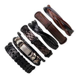 Wholesale Mens Wide Leather Cuff Bracelets - 2017 New Adjustable Multilayer Wide Genuine Braided Mens Leather Cuff Bracelet Bohemian Vintage Feature Bracelets Jewelry LB024 6Pcs Set