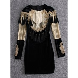 Wholesale Tassel Beading - fancy long sleeve women's one piece dress brand designer dress sexy runway dresses Sequins tassel beading clubbing dress