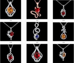 Wholesale 925 Platinum Chain - Diamond Pendant Necklace Cubic Zircon 925 Sterling Silver Quality Romantic Platinum Plated Pendants & Necklaces Wholesale Jewelry