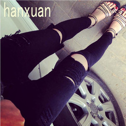 Wholesale Wholesale Colored Skinny Jeans - Wholesale- 2015 High Waist Black Knee Hole Skinny Jeans Beggar Pants Female Ripped Cotton Pencil Pants Slim Denim Ripped Boyfriend Jeans