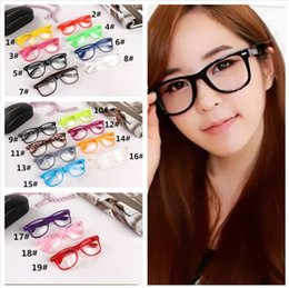 Wholesale Geek Frames - 1000pcs 19 candy colors Unisex sunglasses Rivet Sunglasses Retro Color Unisex Punk Geek Style Clear Lens Glasses R053
