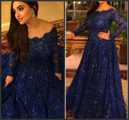 Wholesale Shoulder Cap Dress Prom - New Arabic Abaya Long Sleeve Lace Muslim Evening Dress Capped Floor Length Prom Dress Royal Blue Custom Formal Evening Gowns Plus Size