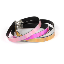 Wholesale rainbow chokers - Women's Punk Goth PU Leather Laser Choker Rainbow Punk Gothic Necklace Summer Jewelry Necklace Adjustable for Girls