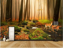 Wholesale Forest Stream - 3d room wallpaper custom photo mural Virgin forest stream elk home decor painting picture 3d wall murals wallpaper for walls 3 d