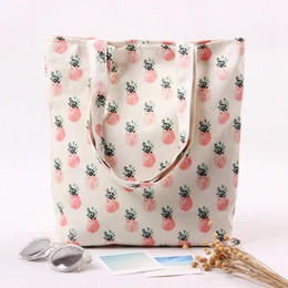 Wholesale Pineapple Patterns - Wholesale- Naivety 2016 New Canvas Women Pineapple Pattern Tote Printing Shoulder Shopping Bag Bolso De Compras 11S61006 drop shipping