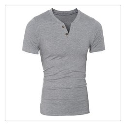Wholesale T Shirt Decorating - T-shirts for Men 2017 Fashion Two Button Decorate Men's Casual V-neck Pure Color Short-Sleeves Brand Summer T-shirts US Size:XS-L