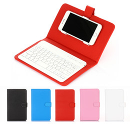 Wholesale Iphone Wireless Keyboard Case - Bluetooth Wireless Keyboard For iPhone Android Smart Phone Protective Slim Lined Leather Case With Keyboard Built-in