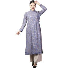 Wholesale Long Sleeve Chinese Dresses Cheongsam - Vintage Elegant New Lace Cheongsam Chinese Women's Dress Print Split Tow-piece Grace Long Evening Dress Lavender