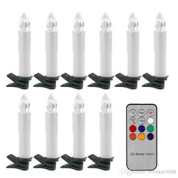 2019 timer remoto Timer LED Taper Candles Colorful alimentato a batteria telecomando LED Albero di Natale Candele di luce con clip per la vigilia di nozze del partito Menorah timer remoto economici