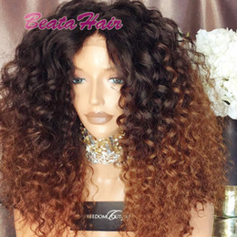 Wholesale Ombre Kinky Curly Human Hair - 2017 new arrival 150% density two tone color human hair wig #1b #30 ombre lace front wig virgin brazilian full lace wig