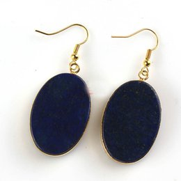 Wholesale Lapis Lazuli Wholesale Jewelry - Gold Oval Drop Earrings Natural Crystal Turquoise Labradorite Lapis Lazuli Black Agate Earring For Women Jewelry