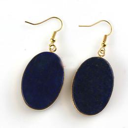 Lapis lazuli oval on-line-Ouro Oval Brincos De Cristal Natural Labradorite Turquesa Lapis Lazuli Ágata Preta Brinco Para As Mulheres Jóias
