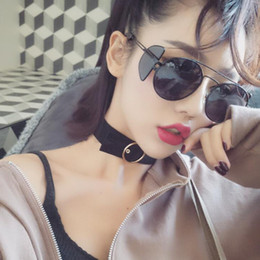 Wholesale Circle Color Lens - Women Round Steampunk Sunglasses women vintage black mirror circle glasses female shades metal frame Shields oculos yellow lens A175