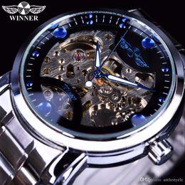 Wholesale Luxury Watches Ocean - Winner Skeleton mechanical Watch Mens Watches Blue Ocean Fashion Casual Designer Stainless Steel Men Top Brand Luxury Automatic Watch Clock